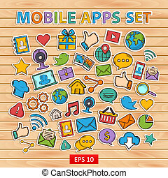 Mobile apps scrap set.Scrapbook set.Sticker.