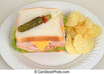 top view chicken sandwich