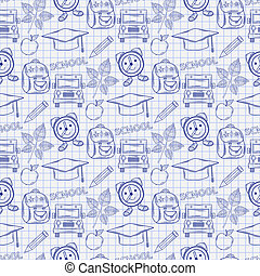 Seamless school pattern with varios elements on the notebook sheet