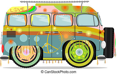 Hippie microvan - Funny hippie microbus. Vector without...