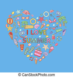 I love summer in the shape of heart