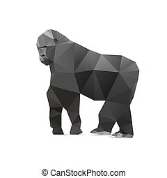 Gorilla triangle low polygon style. Good use for symbol,...