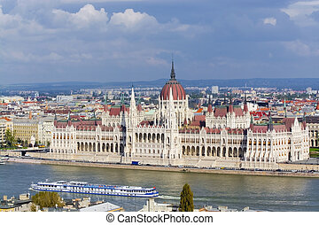 Hungarian Parliament in Budapest - View of the Hungarian...