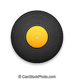 Black vintage vinyl record isolated on white background