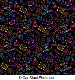 Neon seamless pattern shcool - Seamless neon pattern Back to...