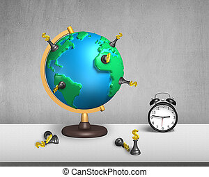 chess stand on 3d map globe with clock - dollar chess stand...