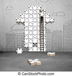 businessman climbing ladder for arrow shape puzzle on...