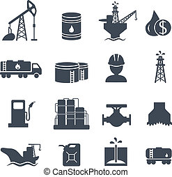 Set of oil and gas grey icons Petroleum industry - Set of...