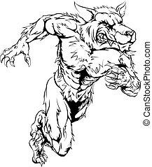 Lobisomem, Lobo, esportes, mascote, Executando