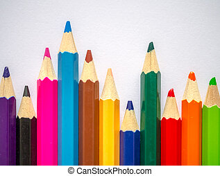 Colored pencil isolated on grey art paper