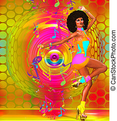 Colorful Retro Disco Dancer - Disco dancing girl on abstract...
