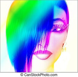 Pop Art, Digital Style - Colorful pop art image of a woman's...