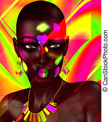 Beautiful Black Woman - Colorful abstract background adds...