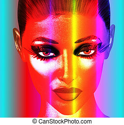 Punk Art Face,Colorful - A punk art digital image of a...