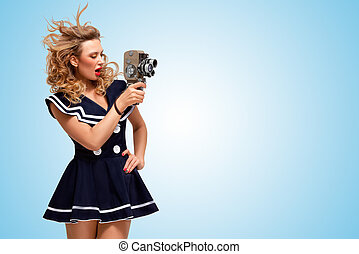 Retro movie style - Retro photo of a glamorous pin-up sailor...