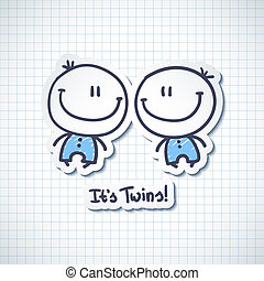 its twins, vector hand drawn babies with text