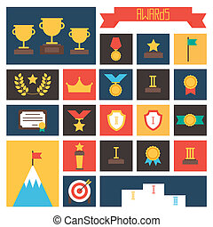 Award icons Vector colorful set of prizes and trophy signs...