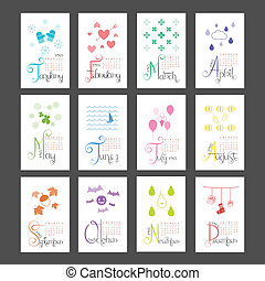 Calendar 2015 Lettering Sunday Start - Calendar 2015 Mini...