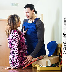 Adult worker flirting with housewife