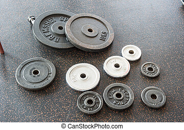 set of dumbbell weight plates - Collection of barbell weight...