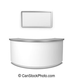 Blank reception counter 3d illustration isolated on white...