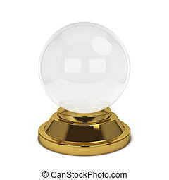 Crystal ball 3d illustration isolated on white background
