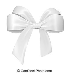 White bow 3d illustration isolated on white background