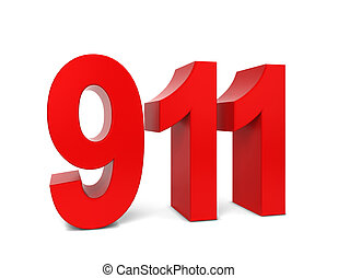 911 text 3d illustration isolated on white background