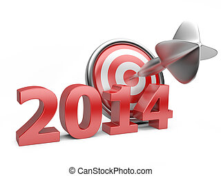 3D red Year 2014 with a target.