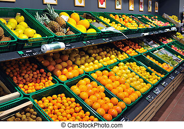 fresh fruits in supermarket - fresh fruits ready to buy in...