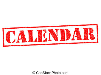 CALENDAR red Rubber Stamp over a white background.