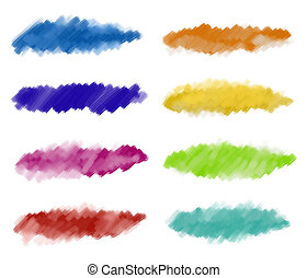 Abstract watercolor paint strokes - A set of textured...