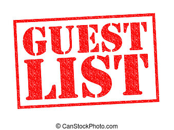 GUEST LIST red Rubber Stamp over a white background.