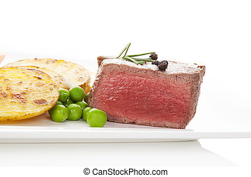 Beefsteak - Delicious mignon steak rare with potatoes and...