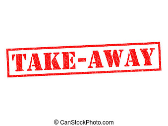 TAKE-AWAY red Rubber Stamp over a white background.