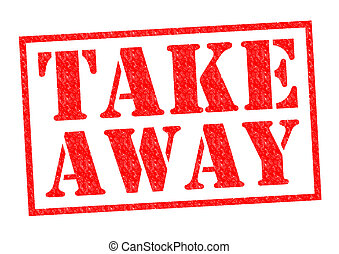 TAKE AWAY red Rubber Stamp over a white background