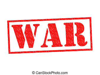 WAR Rubber Stamp - WAR red Rubber Stamp over a white...