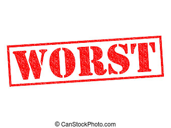 WORST red Rubber Stamp over a white background.