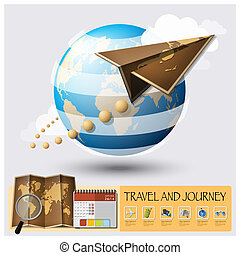 Travel And Journey World Map Infographic Background Design...