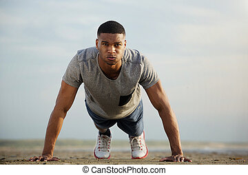 African american man exercising outdoors