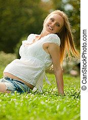 woman in summer meadow