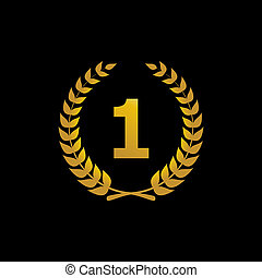 Gold vector silhouette winner icon with the number 1. Laurel wreath, a sign, a symbol of victory, in the first place, ahead of the first, the best isolated on black background