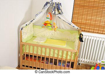 bebé, Cama, colorido, juguetes, interior