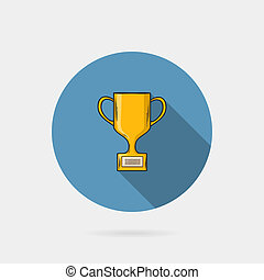 Flat Trophy cup on a blue circle conceptual of winning...