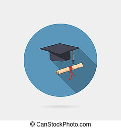 Vector icon of mortarboard or graduation cap and diploma on...