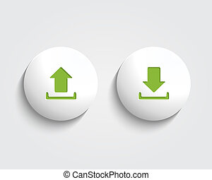 Vector download and send the arrow marks on buttons or...