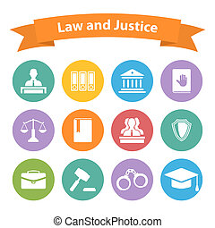 Set of flat law and justice icons with a Judge briefcase...