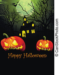 Halloween in the old church - Holiday Halloween Pumpkin with...