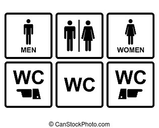 Male and female WC icon denoting toilet and restroom...