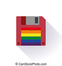 Floppy with a gay pride flag